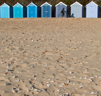 Vibrant beach huts in Bournemouth