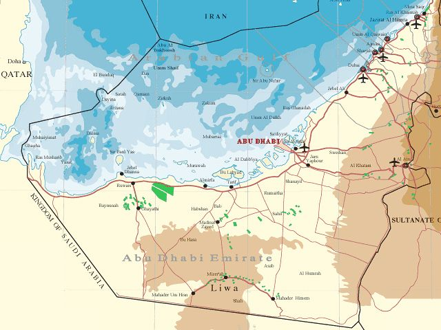 map of the emirate of abu dhabi and the arabian gulf